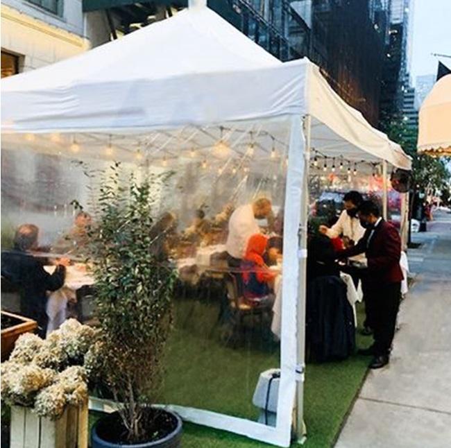 transparent outdoor restaurant tent